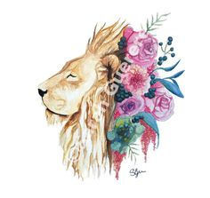 """PRINT Watercolor Painting - Lion - 8"""" x 10"""" 