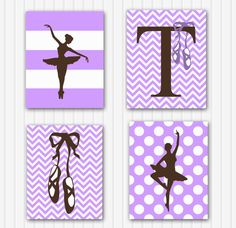 Personalized  Ballet Nursery Art for Girls - Ballerina Wall Decor, Set of 4, Wall art for baby girls, Chevron Modern Prints for babies