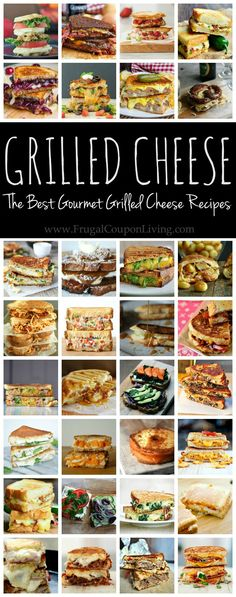 Feeling Cheesey? Check out these amazing grilled cheese gourmet recipes including fruit, meat, funfetti, and more! Round-up on Frugal Coupon Living.