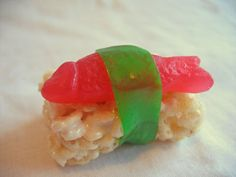 How to Make Candy Sushi...  Rice Crispies, Swedish Fish, and green fruit roll ups! #Food