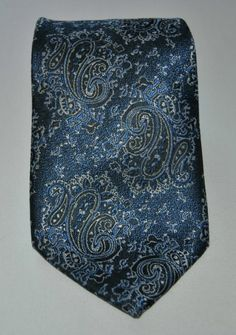 Reno Mens Blue Paisley Print 58 Long Classic(3 1/2 in.- 3 3/4 in.) 100% Poly Tie