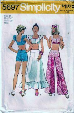 Vintage 70s Midriff Top Skirt & Pants Sew Pattern Simplicity 5697 B36 14