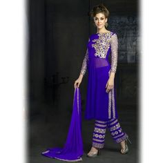 Purple designer straight salwar kameez suit
