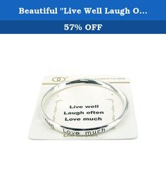 """Beautiful """"Live Well Laugh Often Love Much"""" Inspirational Silver Tone Bangle Bracelet. Mom, Daughter, Sister, Best Friend, Grandma, Inspirational, Girl, Woman, Pandora Style, Morano Beads, Magentic, Stretch, Lobster Clasp, Bangle, Cuff, Bangle, Cute, Girl, Breast Cancer, Animal, Garden, Sea Life, Christian, Family Theme, Pink is the color of Strength, The ribbon is a symbol of Hope, Together it is a sign of Victory. School Teacher, Animal, Garden, Salt Life, Dolphin, Whale, Sand Dollar..."""