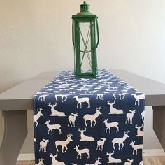 Table Runner - Holiday,Christmas,Wedding - Premier Prints Deer Silhouette Navy/White