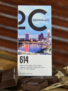 614 Ohio Chocolate Bar from O'Chocolate.  Dark chocolate with currants, peanuts and a hint of chili powder. #yum #madeinohio #614