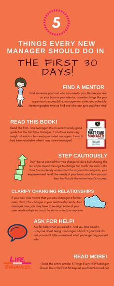 5 Things every  new manager should do in the first 30 days to get started out right. INFOGRAPHIC yourlifeenhanced.net