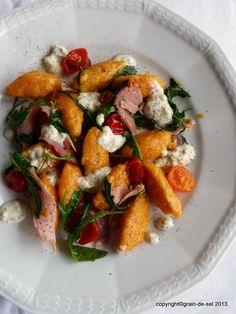 Süßkartoffel-Nocken mit Rucola und Gorgonzola