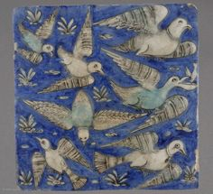 ceramic wall tile, 19th century persian-Iran