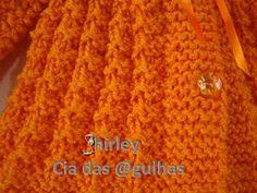 Casaquinho de Tricô para Baby Laranja By Shirley Araujo   Material:  Lã Super Bebe, usar 2 fios. Agulha 5 Botões Fitinha de cetim  Ponto F...