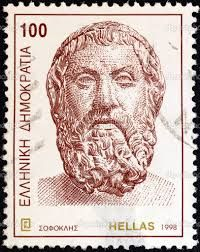 """A stamp printed in Greece from the """"Ancient Greek Writers"""" issue shows tragedian Sophocles Old Stamps, Vintage Stamps, Postage Stamp Collection, Stamp Printing, Red Cross, Stamp Collecting, Greece, Lion Sculpture, Statue"""