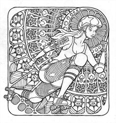 Roller Derby pen & ink drawing. Like a coloring page for derby girls!