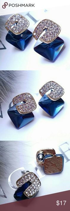 Large Crystal Cubic Blue Earrings Elegant pair of earrings. Excellent selection for party and event. About 2.5cm wide. Jewelry Earrings