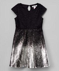 Black Glitter Lace Cap-Sleeve Dress - Infant, Toddler & Girls #zulily #zulilyfinds