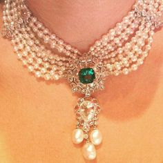 @thejewellcloset Stunning Pearl ,Diamond & Emerald  Necklace  by The Gem Palace.