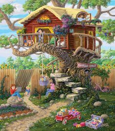 Mountain Retreat is a 1500 piece jigsaw puzzle from Ceaco featuring artwork by Thomas Kinkade. Diy Painting, Painting Frames, Sunsout Puzzles, 300 Piece Puzzles, Illustration, Step By Step Painting, Art Pictures, Home Art, Fantasy Art