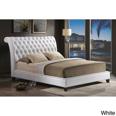 @Overstock.com - Jazmin Tufted White Modern Bed with Upholstered Headboard - $729.99 no box springs needed