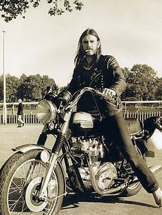 "Vintage image of Ian Fraser ""Lemmy"" Kilmister lead vocalist, bassist, songwriter, and founding member of English heavy metal band Motörhead. Rest In Peace Lemmy Triumph Motorcycles, Vintage Motorcycles, Indian Motorcycles, Custom Motorcycles, Custom Bikes, British Motorcycles, Hard Rock, Ducati Custom, Lemmy Kilmister"