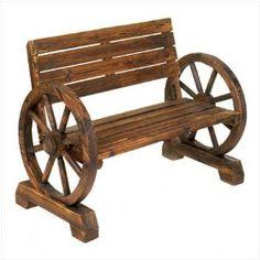 Rustic Wood Design Home Garden Wagon Wheel Bench Decor http://amzn.to/HQfdws
