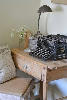Set up a small area in your guest room purely as an aesthetic. Vintage desk lamp with a beautiful antique Underwood Typewriter. We sell typewriters for 150$ at The Art of Demolition at 390 Keele Street in Toronto