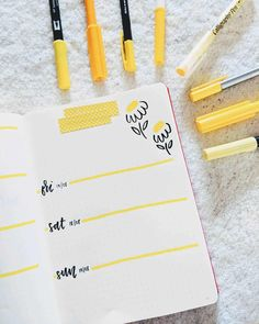 60 amazing yellow bullet journal spread ideas my inner creative. Bullet Journal School, Bullet Journal Inspo, Planner Bullet Journal, February Bullet Journal, Bullet Journal Notebook, Bullet Journal Aesthetic, Bullet Journal Ideas Pages, Bullet Journal Spread, Book Journal