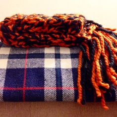 Chunky crochet black and orange scarf #handmade #etsy #chunkyknit #chunkyscarf #giants #halloween #fallfashion #fall #pumpkin #blackandorange #californiamade #forsale