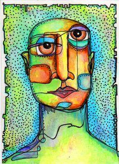 marker, watercolor, cubism lesson possibility