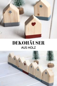 DIY – decorating houses: Wooden houses are not only a nice idea as a Christmas decoration or creative advent calendar. The wooden house DIY is well suited as a gift idea and of course also as a year-round decoration. Decor Crafts, Diy Home Decor, Diy And Crafts, Christmas Crafts, Christmas Decorations, Wooden Crafts, Wooden Diy, Handmade Christmas, Christmas Diy
