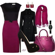 Purple and black work dress