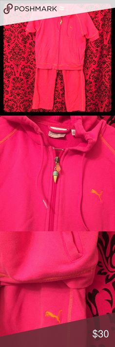 Puma tracksuit Bright pink puma two piece (short sleeve jacket and cropped bottoms) with contrast orange embroidery - used but no serious signs of wear (one of my fave outfits!) Puma Other