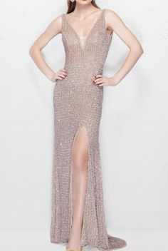 Primavera Couture Blush Sequin Sparkly Long Evening Gown Dress 3021 | Poshare Red carpet ready, this glamorous Primavera prom dress 3021 is a fully beaded style adorn in lavish embellishment. Sophisticated and enthralling, this remarkable gown features a plunging v neckline with sheer insert and thick straps that add a sense of comfort. Lustrous stones create a ravishing embellishment that transitions phenomenally through the entire style. Beaded Dresses, Prom Dresses, Formal Dresses, Long Evening Gowns, Red Carpet Dresses, Formal Wear, Dresses Online, Designer Dresses, Sequins