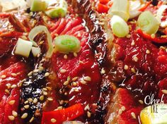 Tasca di manzo marinata in salsa teriyaki, scottata e condita con semi di sesamo, cipollotto fresco, peperoncino fresco e riduzione di marinata. Flank Steak marinated in teriyaki sauce, seasoned with sesame seeds, spring onions, fresh chili peppers and reduced marinade.  #cheftre #amazing #beautiful #delicious #dinner #eat #eating #food #foodgasm #foodpic #foodpics #foodporn #foods #homemade #hungry #instafood #instagood #love #lunch #munchies #sharefood #TagsForLikes #yummy #yumyum #bbq…