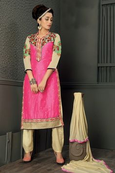 THANKAR PINK & CREAM EMBROIDERED HEAVY CHANDERI STRAIGHT SUIT - Thankar #buydress #onlineshopping #salwarsuits #clothing #shopping