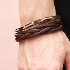 $6.59 (Buy here: http://appdeal.ru/be58 ) Chic Openwork Leather Bracelet For Men…