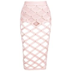 Cut Out Studded Midi Bandage Skirt Pink ($125) ❤ liked on Polyvore featuring skirts, bandage midi skirt, pink skirt, pink knee length skirt, studded skirt and mid calf skirts