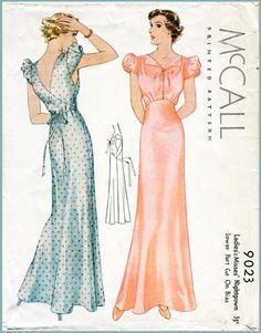 années 1930 des années 30 manche de ballon de patron de couture vintage glissement robe papillon dos lingerie nuit robe buste 32 34 36 38 40 repro reproduction du soir