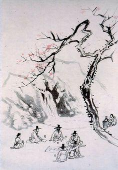 (Korea) by Owon Jang Seung-eop (1843-1897). color on hanji.