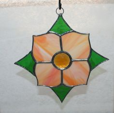 Peachy flower suncatcher stained glass vintage by Glasspainter1