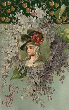 Embossed Valentine Postcard 18th Century Woman in White & Purple Flowers