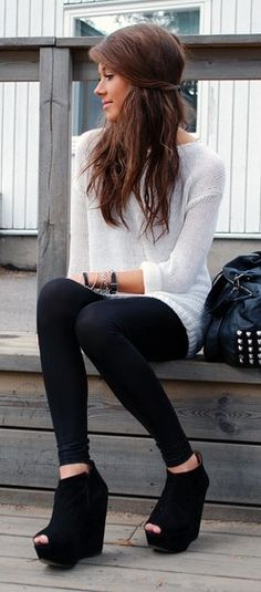 Black Skinnies & White Thin Knit Jumper with Peep Toe Wedges