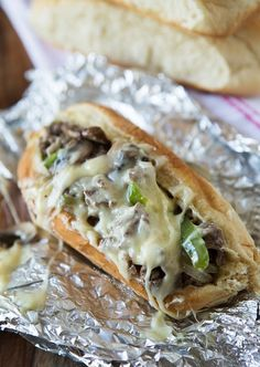 My absolute favorite sandwich! Can't wait to try this. Cheesesteak Sandwiches | tablefortwoblog.com