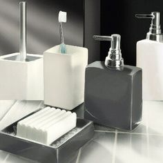 Beautiful Porcelain Soap Dish Dispensers And Toilet Brush Sets In Dark Grey White