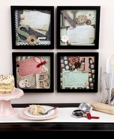 Display Mom's favorite recipes in a shadow box, with fun scrapbooking paper and floral embellishments. How creative! Diy And Crafts, Arts And Crafts, Paper Crafts, Kids Crafts, Craft Projects, Projects To Try, Craft Ideas, Decorating Ideas, Decor Ideas