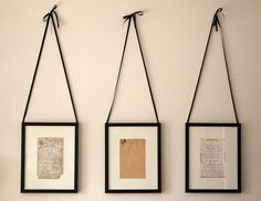 Handwritten recipes framed. I want to do this with some of my grandmother's handwritten recipes!