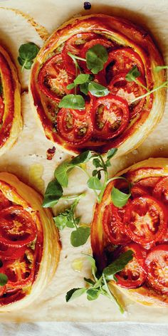 A perfect starter or even a canapé recipe from TV presenter and chef John Torode, the classic flavours of tomato and pesto shine through these rustic tarts. Use a good quality pesto, or have a go at making your own christmas appetisers Canapes Recipes, Tart Recipes, Veggie Recipes, Vegetarian Recipes, Cooking Recipes, Healthy Recipes, Vegetarian Canapes, Vegetarian Buffet, Vegetarian Christmas Recipes