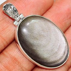 Silver-Sheen-Obsidian-925-Sterling-Silver-Pendant-Jewelry-SP180351