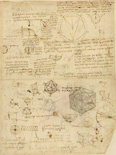 Leonardo da Vinci. Icosaedro platonico, tra studi geometrici vari.
