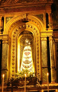 The venerated Marian image of Our Lady of Loreto, Patroness of air travel was granted a Canonical coronation on 5 September 1922. The cedar wood was timbered from the Vatican Gardens.