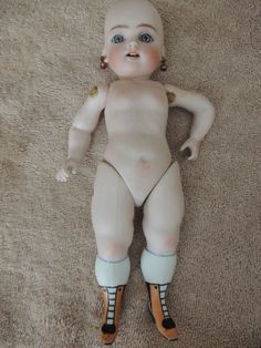 "Kestner 102 French Wrestler 9"", Yellow Boots, Antique All Bisque Doll, - Ashley's Dolls #dollshopsunited"