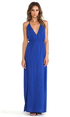 BLAQUE LABEL Cross Back Maxi Dress in Blue